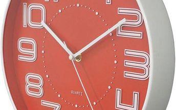 Nástěnné hodiny s reiléfem čísla COLOR 30,5 cm - ČERVENÁ
