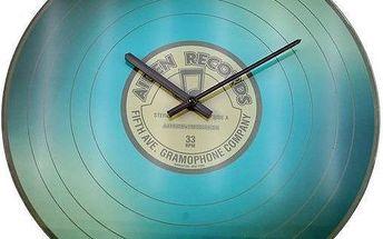 Nástěnné skleněné hodiny VINYL 35 cm - MODRÁ