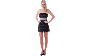 Dámské mini šaty s krajkou hnědá