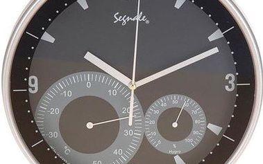 Nástěnné hodiny + teploměr + vlhkoměr 25 cm - ČERNÉ
