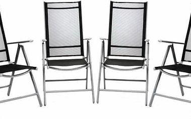 Sada 4 kusů hliníková skládací židle Garth - černá