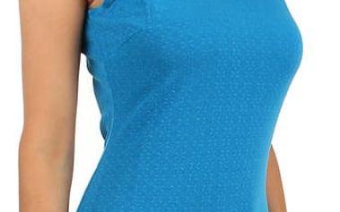 Pouzdrové šaty s průhlednými rameny modrá