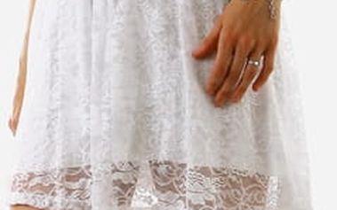 Dámské krajkové šaty bez ramínek krémová