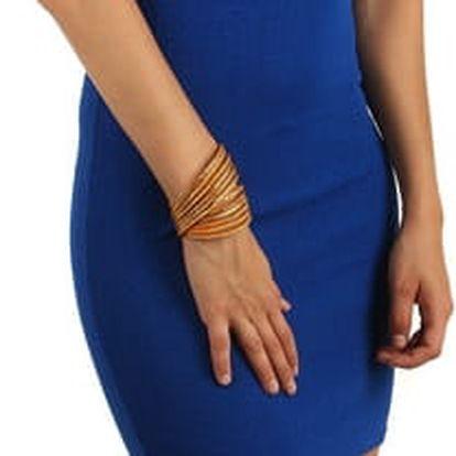 Pouzdrové šaty s průhlednými rameny tmavě modrá