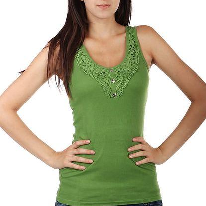 Jednoduché tílko s knoflíky a krajkou zelená