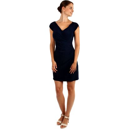 Dámské šaty se zavinovacím efektem - i pro plnoštíhlé tmavě modrá