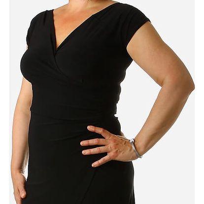 Dámské šaty se zavinovacím efektem pro plnoštíhlé černá