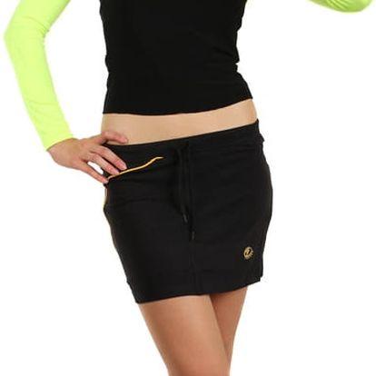 Krátká sportovní sukně černá/žlutá