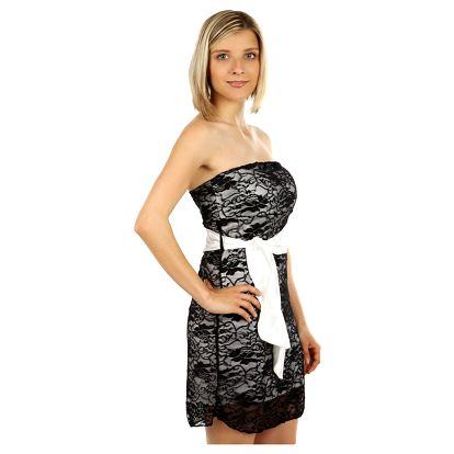 Dámské mini šaty s krajkou bílá