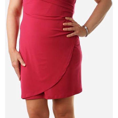 Dámské šaty se zavinovacím efektem pro plnoštíhlé růžová