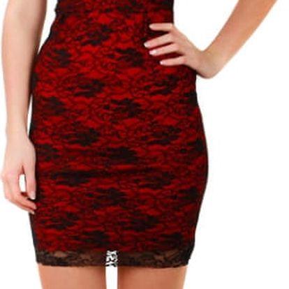 Dámské společenské pouzdrové šaty kombinované s krajkou béžová