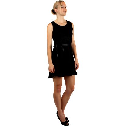 Barevné šaty s krajkou a páskem v pase černá