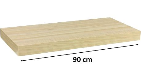 Nástěnná police STILISTA VOLATO - světlé dřevo 90 cm