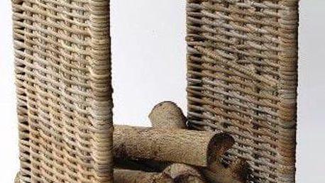 ratanový stojan na dřevo - vysoký