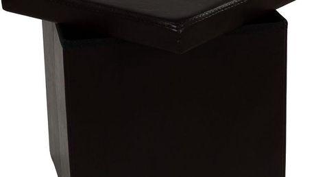 Taburet s úložným prostorem - hnědý