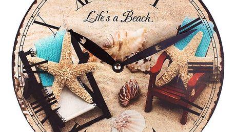 Koopman 35259 Nástěnné hodiny PLÁŽ 23 cm - HVĚZDICE