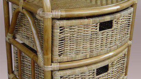 Ratanový kabinet se zásuvkami, prádelník - tmavý med