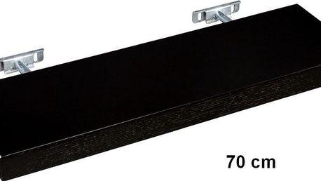 Nástěnná police STILISTA SALIENTO - hnědočerná 70 cm