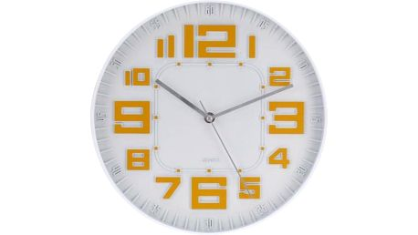 Koopman 35647 Nástěnné hodiny skleněné RELIÉF 30 cm - ORANŽOVÁ