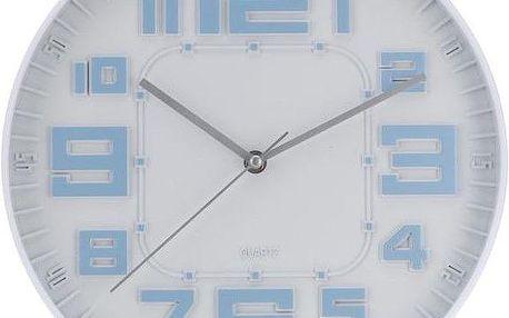 Koopman RELIÉF 35242 Nástěnné hodiny skleněné 30 cm - MODRÁ