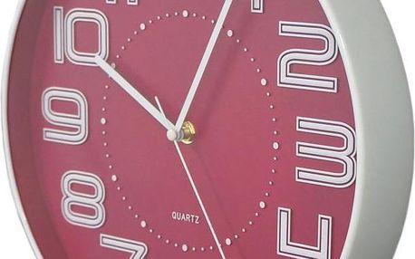 Koopman 35748 Nástěnné hodiny s reiléfem čísla COLOR 30,5 cm - RŮŽOVÉ