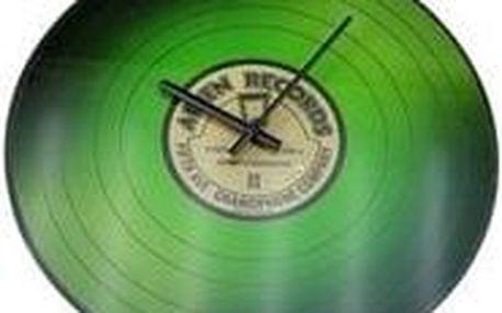 Koopman VINYL 35775 Nástěnné skleněné hodiny 35 cm - ZELENÉ