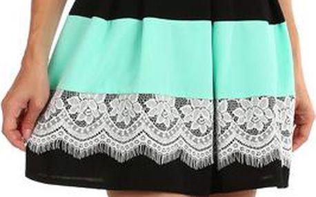 Šaty se skládanou sukní a vrstvou krajky tyrkysová