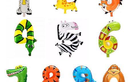 Balonky s motivy zvířátek a čísel - 1ks
