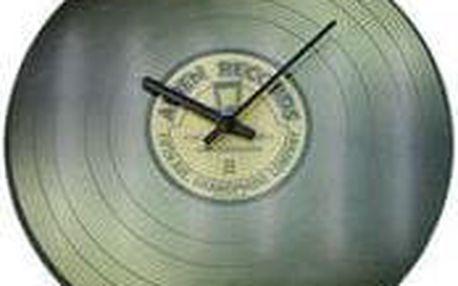 Koopman 35776 Nástěnné skleněné hodiny VINYL 35 cm - ŠEDÉ