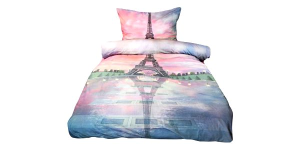 NOVIA Povlečení Exklusiv, Eiffelova věž s 3D efektem, bavlna, 2 dílné, 140x200 70x90