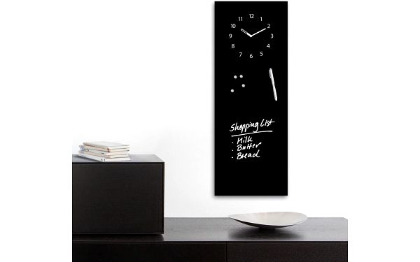 Magnetická tabule s hodinami Black Clock, 30x80 cm - doprava zdarma!