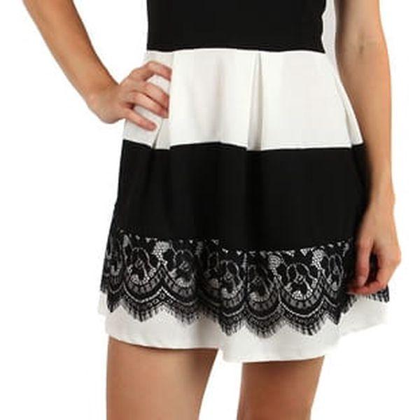 Šaty se skládanou sukní a vrstvou krajky černá