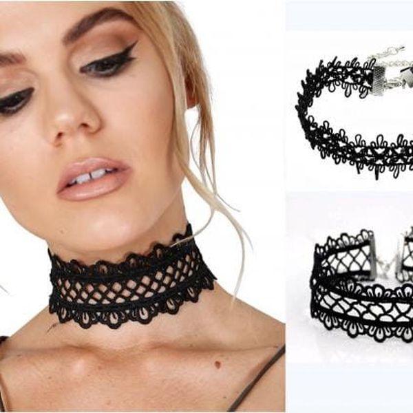 Černý krajkový choker náhrdelník Elegante