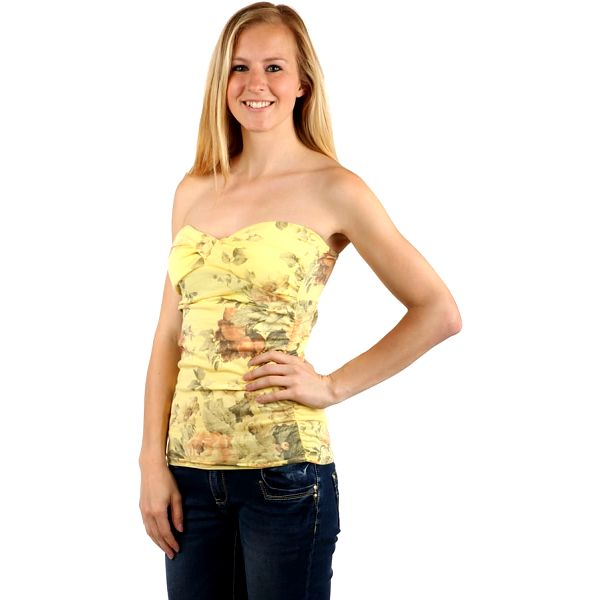 Top s květinovým vzorem žlutá