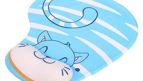 Kočičí podložka pod myš s vycpávkou pod zápěstí