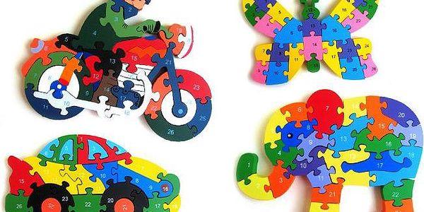 Dřevěné puzzle s písmenky a číslicemi pro děti v několika variantách