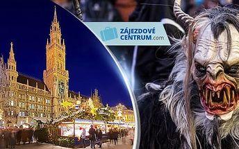 Adventní Mnichov, 1 zájezd rej čertů a vánoční trhy pro 1 osobu z Prahy a Plzně