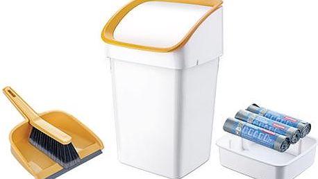 TESCOMA odpadkový koš CLEAN KIT 21 l, se smetáčkem, lopatkou a sáčky, žlutá
