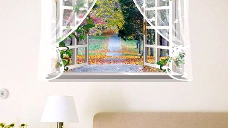 3D samolepka na zeď - Okno s výhledem do podzimního rána - dodání do 2 dnů