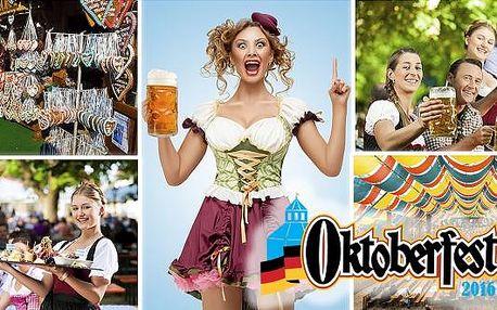 Celodenní zájezd na Oktoberfest 2016 pro 1 osobu - nejslavnější festival piva v Mnichově.Pojeďte s námi v sobotu v září nebo v říjnu a užijte si spoustu zábavy. Vychutnejte si pivo z tradičního tupláku, pobavte se se servírkami v krojích nebo si zařaďte