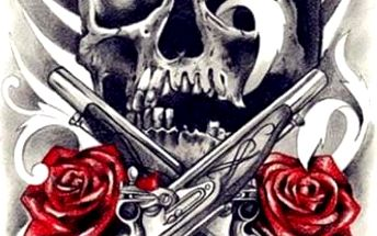 Dočasné tetovaní - lebka s růži - skladovka - poštovné zdarma