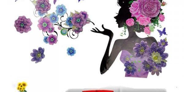 Samolepka na zeď - květinová dáma