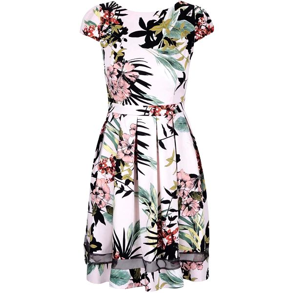 Světle růžové květinové šaty s pruhledným pruhem Dorothy Perkins