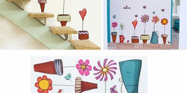 Květináče - samolepka na zeď