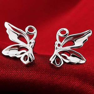 Motýlkové náušnice ve stříbrné barvě - poštovné zdarma