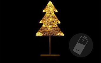Vánoční dekorace - Svítící stromek ratanového vzhledu - 40 cm, 20 LED