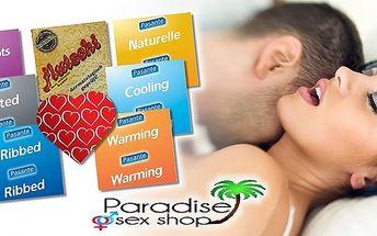 Balíčky značkových kondomů Durex a Pasante. Zdarma lubrikační gel s afrodiziakální vůní ambry ke každému balíčku. Užijte si milování s těmito pestrými balíčky bez obav. Kvalitní značky Durex a Pasante jsou zárukou, že si rozkoš vychutnáte maximálně a bezp