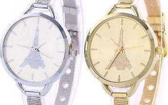 Dámské hodinky s Eiffelovkou a úzkým kovovým páskem