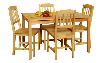 Jjídelní set, jídelní stůl + 4 židle z borovice 8849 Idea