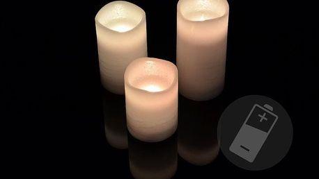 Nexos 33486 Dekorativní LED sada - 3 voskové svíčky - bílá